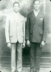Black and white photograph of Arthur L. Gaines (on right) and Lloyd Gaines (on left)